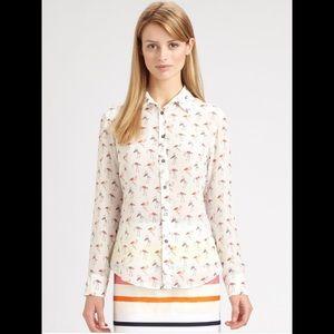 NWT MAX MARA Weekend Ivory Flamingos print shirt